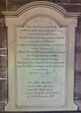 James Arderne - Memorial to James Arderne in Chester Cathedral
