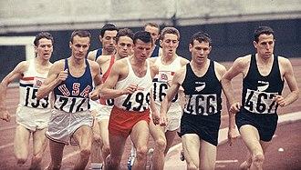 Athletics at the 1964 Summer Olympics – Men's 1500 metres - 1500 m final: Alan Simpson (155), Dyrol Burleson (714), Witold Baran (499), John Whetton (160), Peter Snell (466), John Davies (467).