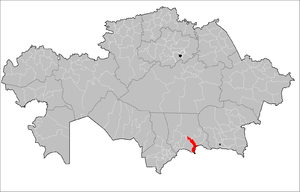 Location of Merki District in Kazakhstan