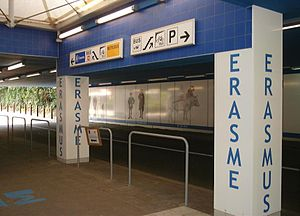 Erasmus metro station - The entrance is from a street that goes under the station