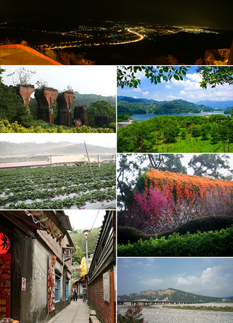 Miaoli County - Top:A night view of Tongluo, Second left:Lonteng Ancient Bridge, Second right:Liyu Reserve Lake, Third left :Chunhsiang Strawberry Farm Park, Third right:Hakka Cultural Park, Bottom left: Osmamthus Street in Nanchuang, Bottom right:Mount Huoyen