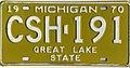 Michigan 1970 license plate - Number CSH-191.jpg