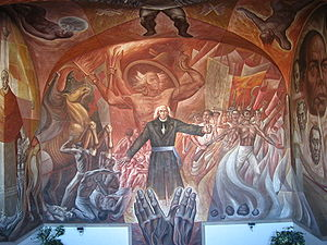 Irapuato - Mural depicting Miguel Hidalgo y Costilla and the Mexican Independence movement.