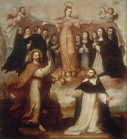 Allegory of the Virgin Patroness of the Dominicans by Miguel Cabrera. Miguel Cabrera - Allegory of the Virgin Patroness of the Dominicans - Google Art Project.jpg