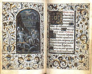 Medieval Latin - An illuminated manuscript of a Book of Hours contains prayers in medieval Latin.