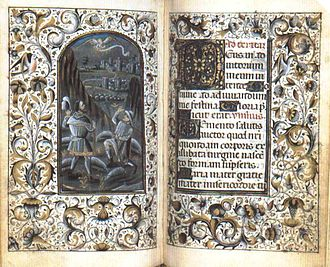 Book of Hours (Milan, Biblioteca Trivulziana, Cod. 470) - These two pages from a Book of Hours in the Biblioteca Trivulziana contain a miniature of the Annunciation to the Shepherds and a decorated initial.