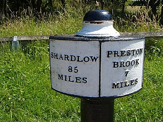 Listed buildings in Anderton with Marbury - Image: Milepost beside Trent and Mersey Canal geograph.org.uk 641233
