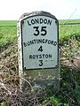 Milestone 35 on A10 in Therfield parish.jpg