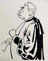 Profielkarikatuur van een man met wit haar en snor en dikke zwarte wenkbrauwen, een bril op, een avocadogewaad aan en een blad in zijn rechterhand