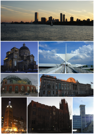 Clockwise from top left: Milwaukee skyline and Lake Michigan, Milwaukee Art Museum, Milwaukee Central Library, Allen-Bradley Clock Tower, Marquette Hall at Marquette University, Milwaukee City Hall, Miller Park, and the Basilica of St. Josaphat.