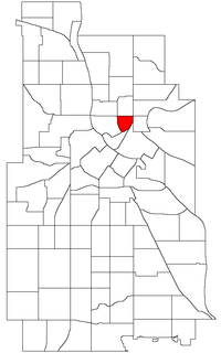 Location of St. Anthony East within the U.S. city of Minneapolis