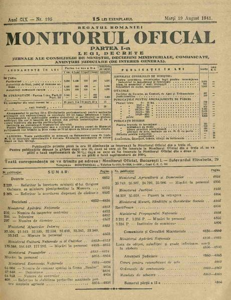 File:Monitorul Oficial al României. Partea 1 1941-08-19, nr. 195.pdf