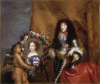 Philippe I, Duke of Orléans - Philippe holding a medallion of his favourite daughter Marie Louise, c.1670, Pierre Mignard.