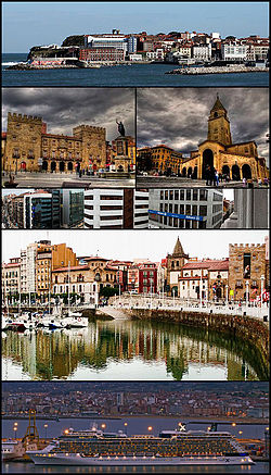 Top: Cimavilla Marina area, 2nd row left: Revillagigedo Palace, 2nd row right: View of Calle Palace and Bankunion area, Middle: view of Saint Lorenzo Beach and Cimavilla historic area, 4th row left: Gijón Laboral University, 4th row right: San Pedro Church by night, Bottom left: Gijón City Hall, Bottom right:Playa de Poniente