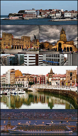 Gijón - Top:View of Santa Catalina Hills (Cerro de Santa Catalina), 2nd row:Revillagigedo Palace and Don Pelayo Statue (left), San Pedro Church (right), 3rd row:A office area in Munuza Street, 4th row:Cimadevilla area and San Juan Bautista, Bottom:Twilight view of El Musel Port