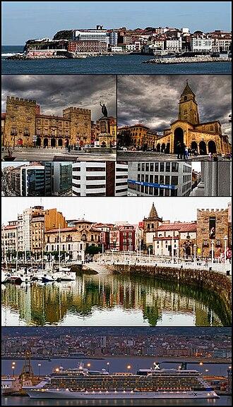 Gijón - Top:View of Santa Catalina Hills (Cerro de Santa Catalina), 2nd row:Revillagigedo Palace and Don Pelayo Statue (left), San Pedro Church (right), 3rd row:A office area in Munuza Street, 4th row:Cimadevilla area and San Juan Bautista, Bottom:Twilight view of El Musel Port
