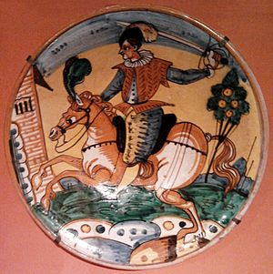 Montelupo Fiorentino - Arlecchino type plate with a horseman, an example of Montelupo's pottery from the beginning of the 17th-century at the Royal Castle in Warsaw.