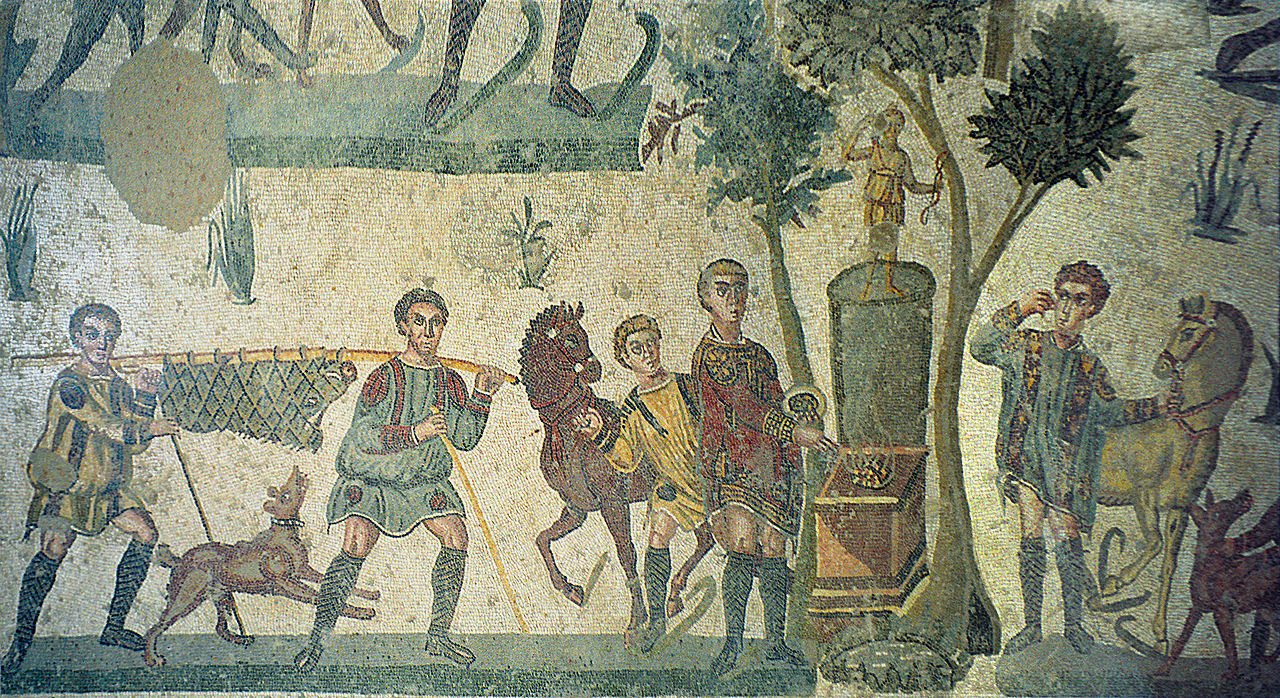 https://upload.wikimedia.org/wikipedia/commons/thumb/3/38/Mosaic_in_Villa_Romana_del_Casale%2C_by_Jerzy_Strzelecki%2C_07.jpg/1280px-Mosaic_in_Villa_Romana_del_Casale%2C_by_Jerzy_Strzelecki%2C_07.jpg