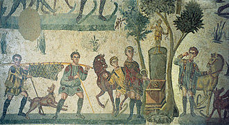Ancient Roman cuisine - A mosaic depicting a banquet during a hunting trip from the Late Roman Villa Romana del Casale in Sicily