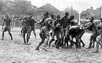 Big Game (American football) - From 1906 to 1914, the Big Game was played under the rules of rugby union. The 1912 edition would be nicknamed the mud game