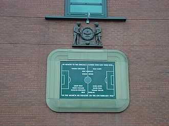 Manchester United F.C. - A plaque at Old Trafford in memory of those who died in the Munich air disaster, including players' names