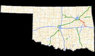 Muskogee Turnpike highway in Oklahoma
