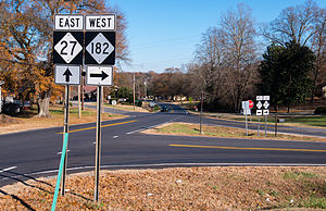 North Carolina Highway 182 - NC 27 and NC 182, near Lincolnton