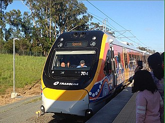 New Generation Rollingstock - NGR704 arriving at Varsity Lakes for the inaugural NGR passenger service on 11 December 2017