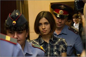 Political abuse of psychiatry in Russia - Image: Nadezhda Tolokonnikova (Pussy Riot) at the Moscow Tagansky District Court Denis Bochkarev