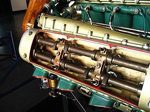 Napier Lion - Cutaway view showing the double overhead camshaft arrangement