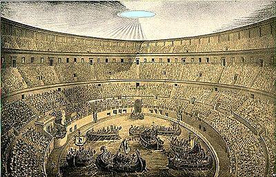 Representación de una Neumaquia en el Coliseo Romano.