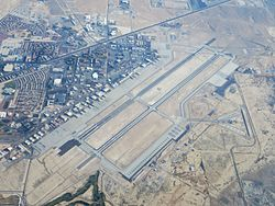 An aerial view of Nellis AFB taken during 2014.