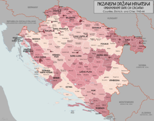 Greater Croatia - Districts of the Independent State of Croatia in 1943