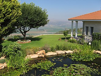 Ramot Naftali - A house in Ramot Naftali with the Hula Valley in the background