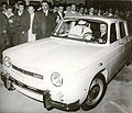 Nicolae Ceausescu driving the first Dacia car.jpg