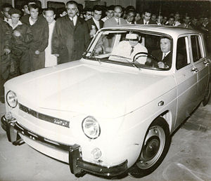 Automobile Dacia - Nicolae Ceaușescu driving the first Dacia 1100 in 1968