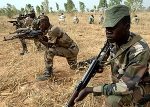Niger Armed Forces - Nigerien army soldiers from the 322nd Parachute Regiment practice field tactics during combat training facilitated by U.S. Army soldiers during exercise Flintlock 2007 in Maradi, Niger, April 6, 2007