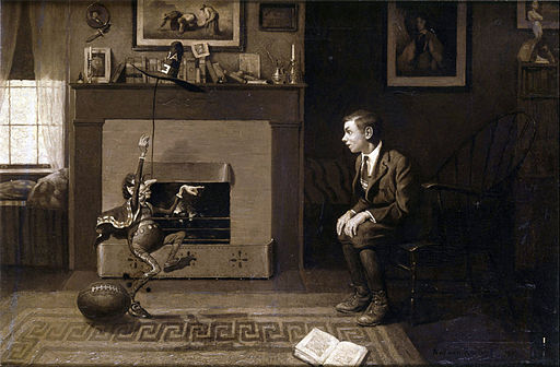 Norman Rockwell - The Magic Foot-ball, 'I thought you were wrong,' he said in triumph. 'You said it was nine! Stupid!' - Google Art Project