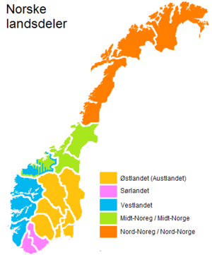 Regions of Norway - The five traditional regions of Norway. Sørlandet is more recent, while the other four are ancient. At least parts of Møre og Romsdal - particularly Nordmøre - identifies more with Trøndelag than with Vestlandet.