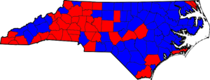 North Carolina lieutenant gubernatorial election, 2008 - Image: North Carolina Gubernatorial Election Results by county, 2008