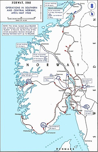 Battle of Dombås - Map of the ground campaign in southern Norway in April and May, 1940. Dombås is in the centre of the top half of the map.