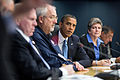 Obama listening to LaHood at FEMA HQ meeting 2012-10-31.jpg