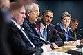 Obama listening to LaHood at FEMA HQ meeting 2012-10-31.jpg