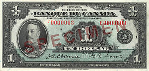 1935 Series (banknotes) - Image: Obverse of $1 banknote, Canada 1935 Series, French version