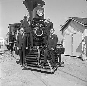 Cyrus K. Holliday - Image: Officials at Fair Park, Atchison, Topeka, & Santa Fe, 'Cyrus K. Holliday' Locomotive No. 1 with Tender