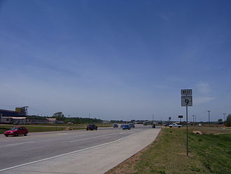 Oklahoma State Highway 9 - A new SH-9 sign, of the 2006 design, just west of I-35 in Goldsby