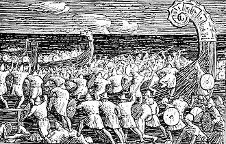 Halfdan Egedius - Image: Olav Tryggvasons saga Eriks menn entrer Ormen lange Halfdan Egedius