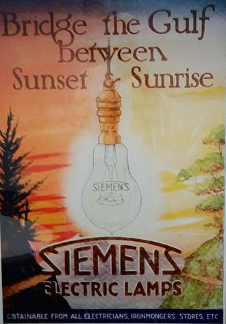 Siemens - British Siemens advertisement from the 1920s era.