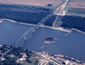 Bill Emerson Memorial Bridge - Old Cape Girardeau Bridge with replacement under construction, 1997.