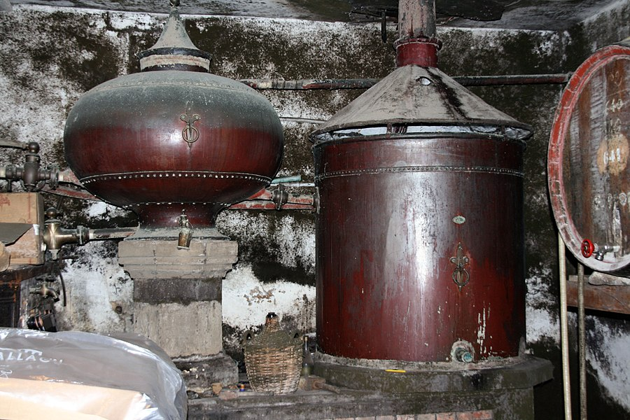 An old pot still of Cognac, used untill 1979 in a wine farm in Cherves de Cognac, Charente, Poitou-Charentes, France.